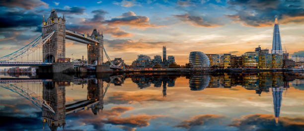 The modern skyline of London during sunset The modern skyline of London during sunset: from the Tower Bridge to London Bridge london england stock pictures, royalty-free photos & images
