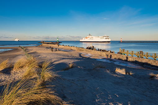 The mole on the Baltic Sea coast in Warnemuende, Germany