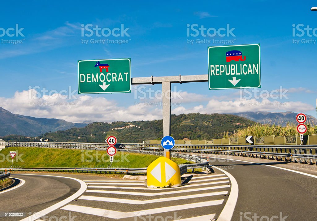the moment of choice, Republican or Democrat stock photo