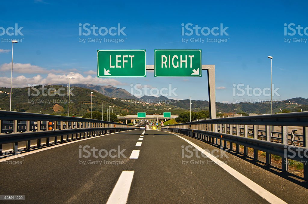 the moment of choice, right or left stock photo