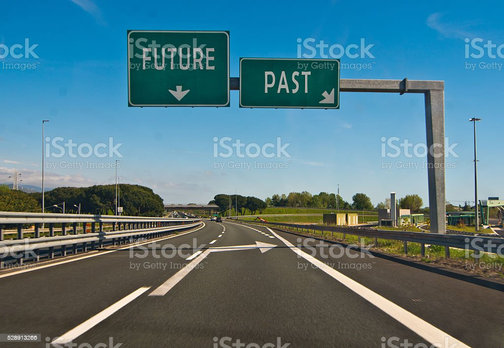 the moment of choice, the future or the past stock photo