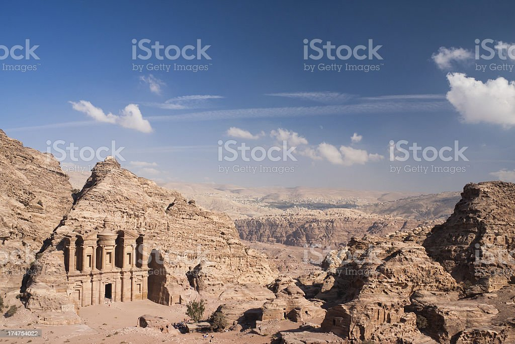 The Monastery at Petra in Jordan stock photo