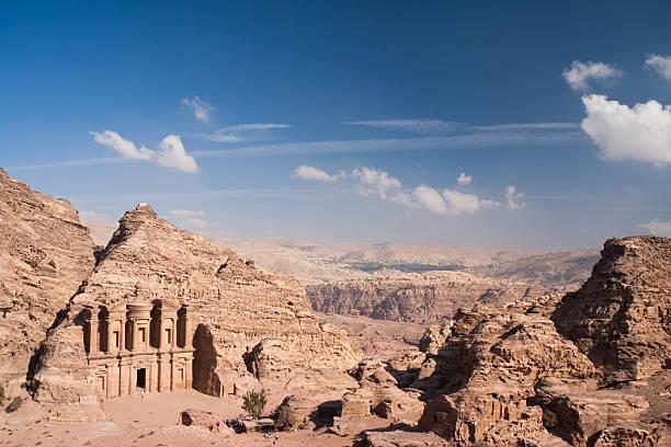 The Monastery at Petra in Jordan stock photo