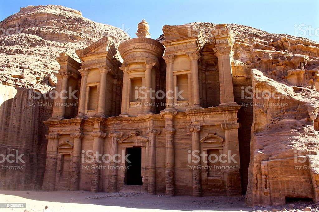The Monastery at the Ancient City of Petra, Jordan stock photo