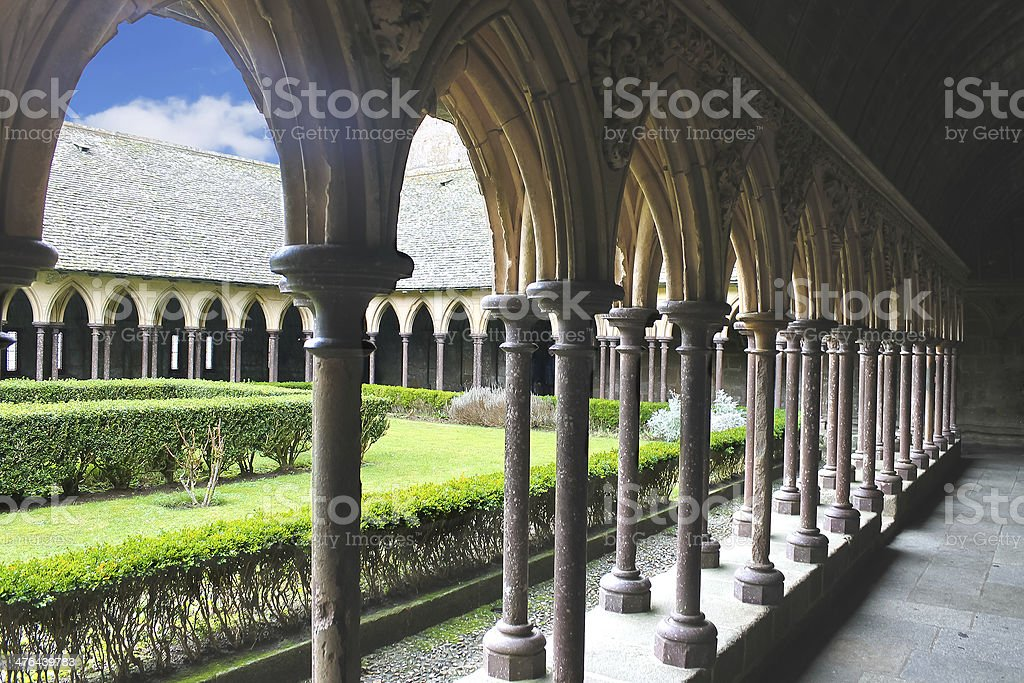 The monastery garden in  abbey of Mont Saint Michel. Normandy royalty-free stock photo