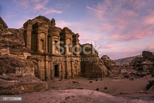 The magnificent monastery located on the top of Petra at the sunset, Jordan