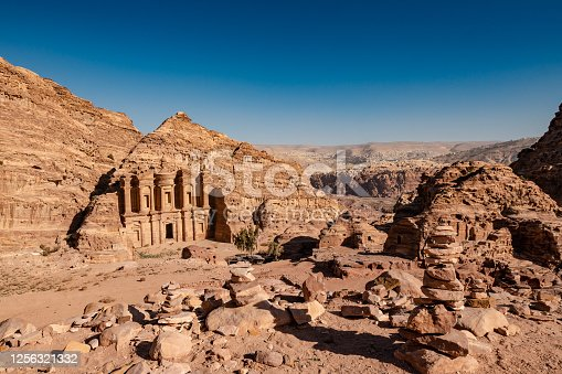 The magnificent monastery located on the top of Petra  in a clear summer day, Jordan