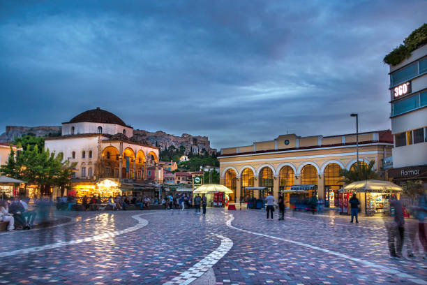 The Monastiraki Square and Metro station at evening during the covid-19 crisis, Athens, Greece stock photo