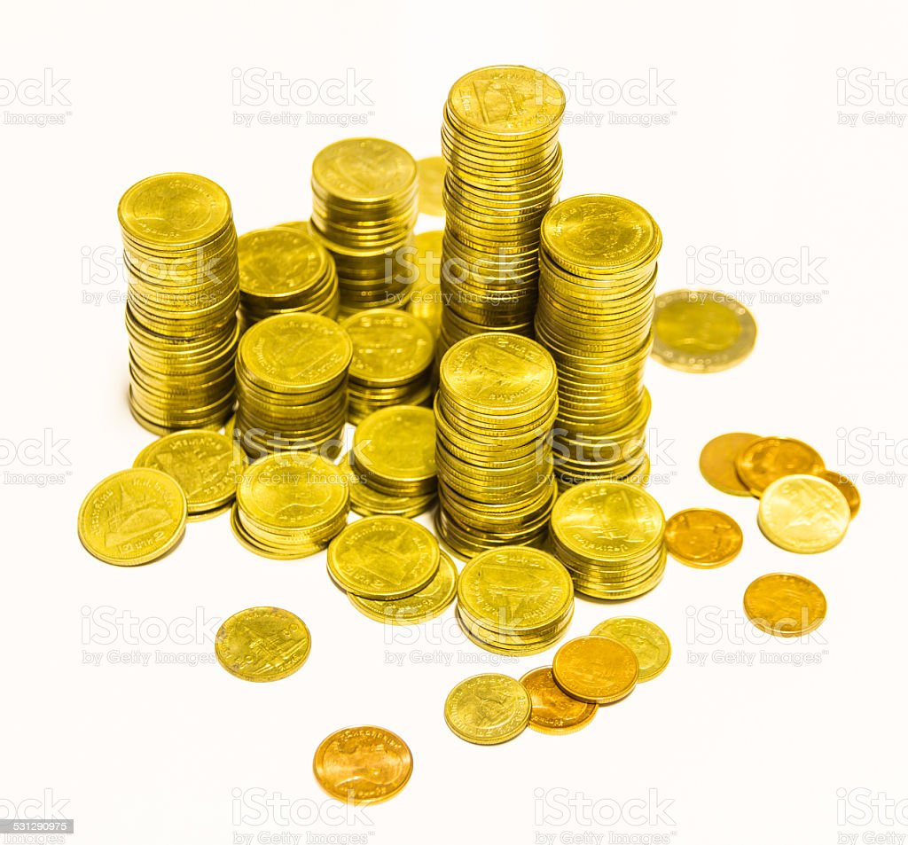 The money coin on white background. stock photo