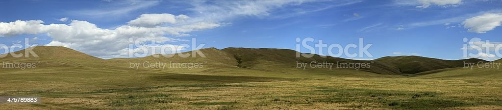Die mongolische Steppe im Orkhon Tal stock photo