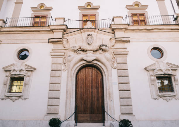 The Monster door on Zuccari Palace, Rome, Italy, Europe stock photo
