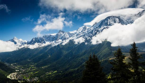 The Mont Blanc Mountain Range stock photo