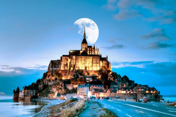 The Mont Saint-Michel rocky island where stands the abbey of Mont-Saint-Michel in Normandy manche stock pictures, royalty-free photos & images