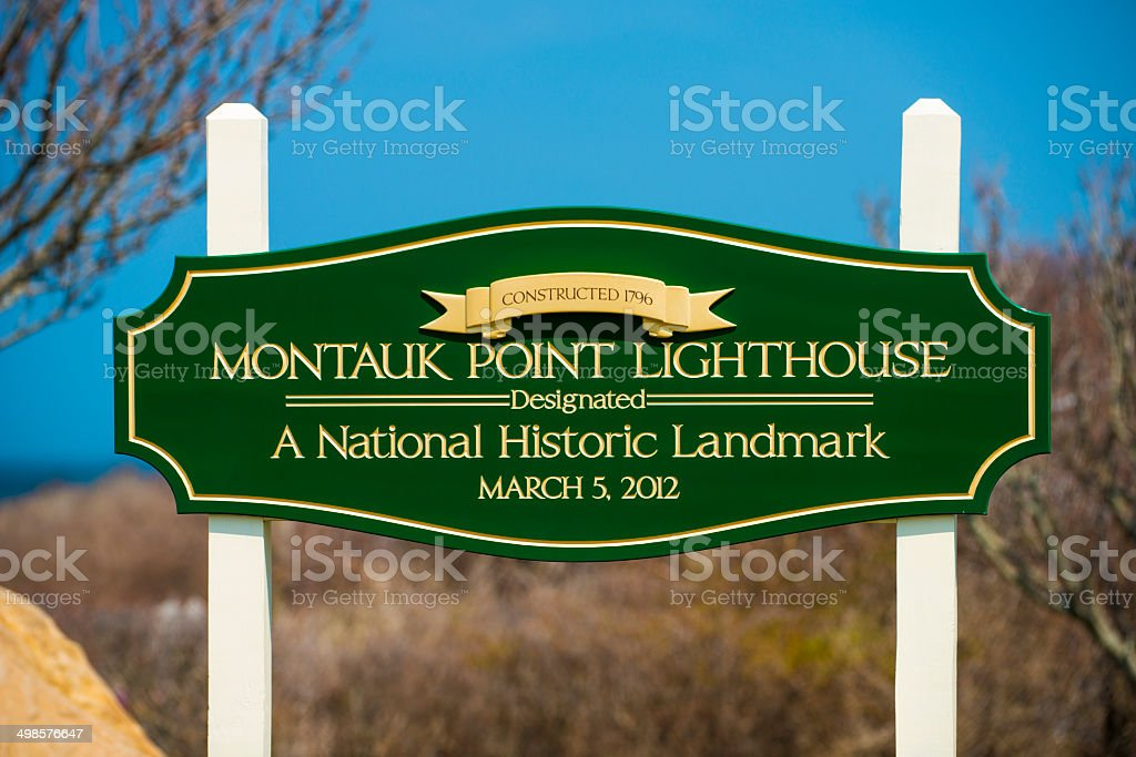 The Montauk Point Lighthouse Sign stock photo