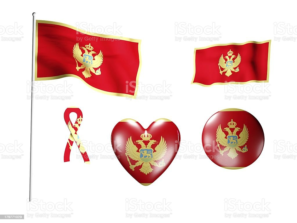 The Montenegro flag - set of icons and flags royalty-free stock photo
