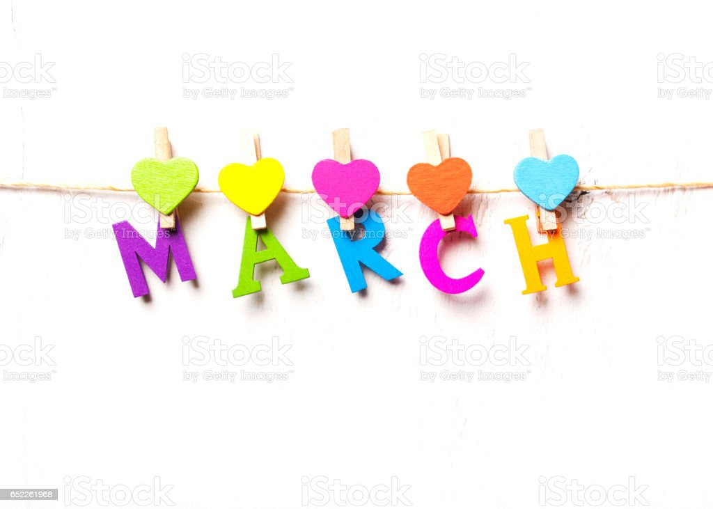 the month of March of the colored letters stock photo