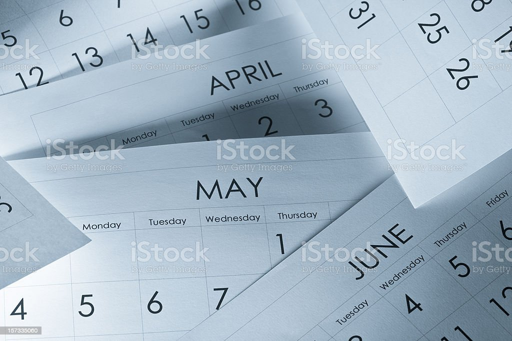 The months and days of the year on calendar paper stock photo