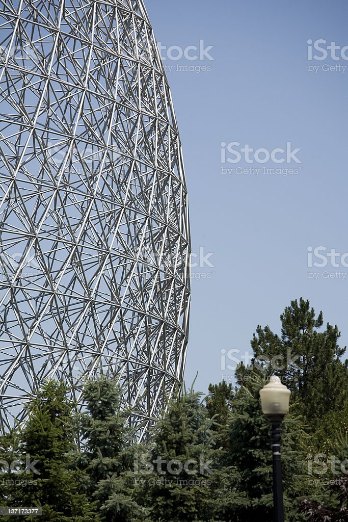 The Montreal Biosphere, a geodesic dome against the sky.  royalty-free stock photo