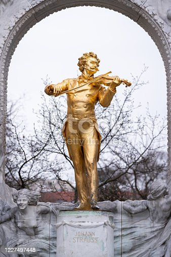 The monument of Johann Strauss in Vienna, cloudy day in autumn