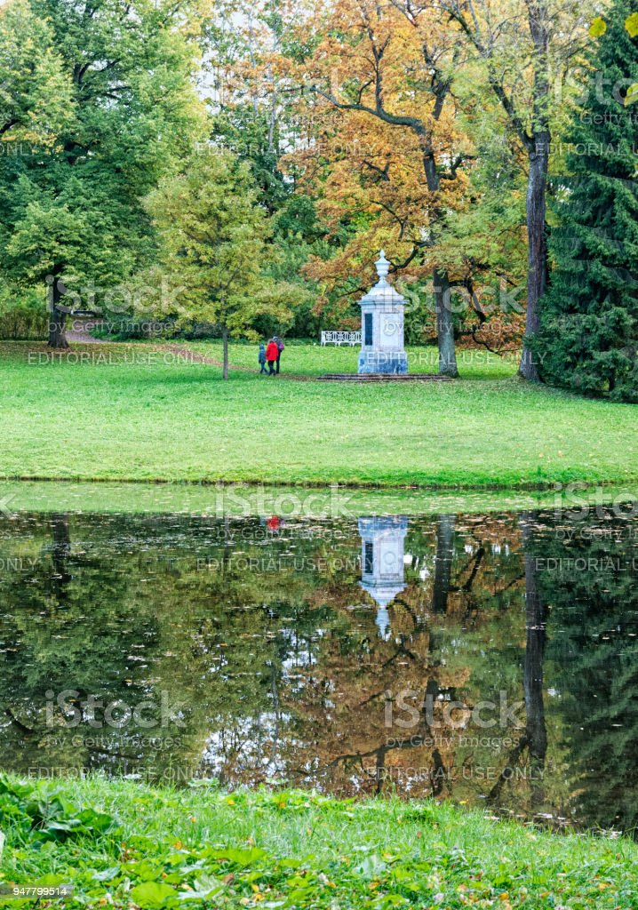 The Monument to Alexander Lanskoi. Pushkin. Tsarskoye Selo. Russia stock photo