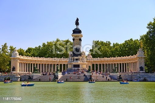 The monument to Alfonso XII in the Buen Retiro Park (Estanque grande del Retiro) sunny morning in Madrid, Spain.