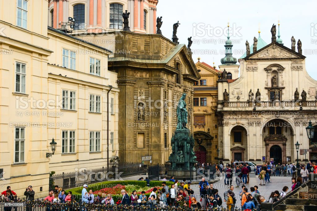 The monument to Charles IV, St. Francis Of Assissi Church and St. Salvator Church stock photo