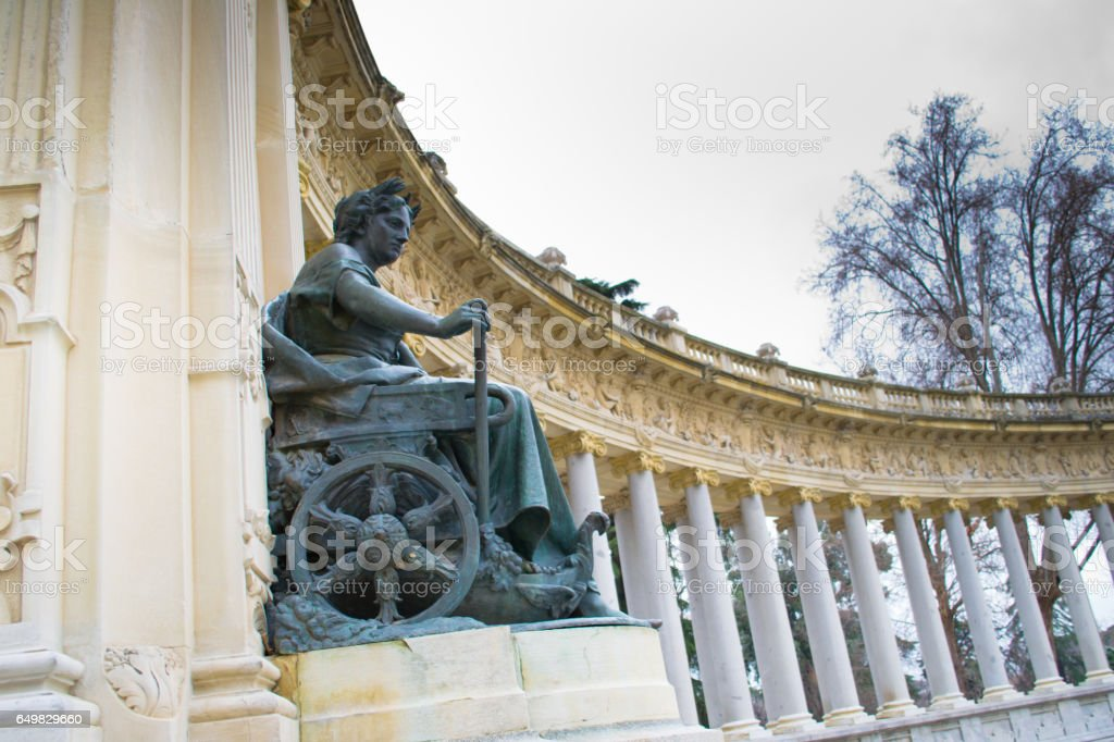 The Monument to King Alfonso XII is located in Buen Retiro Park , Madrid, Spain. stock photo