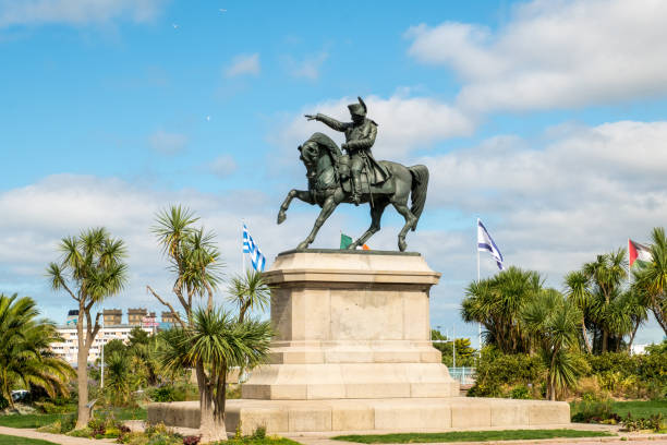 The monument to Napoleon, the work of Armand Le Veel, located at Napoleon Square in Cherbourg-Octeville, France. Cherbourg-Octeville, France - August 21, 2018: Equestrian statue of Napoleon, the work of Armand Le Veel, on Napoleon Square in Cherbourg, France. cherbourg stock pictures, royalty-free photos & images
