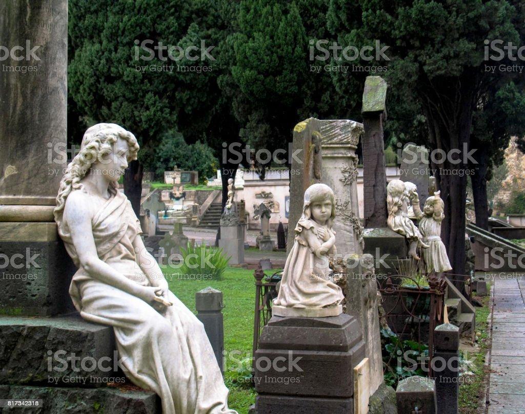 The Monumental Cemetery of Bonaria is located in Cagliari, Sardinia. stock photo