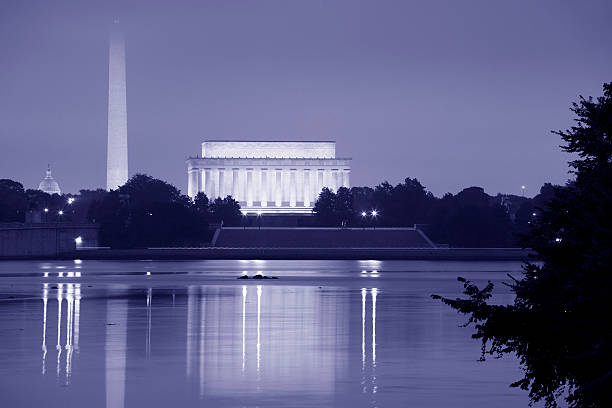 The Monuments of Washington DC at Dawn stock photo