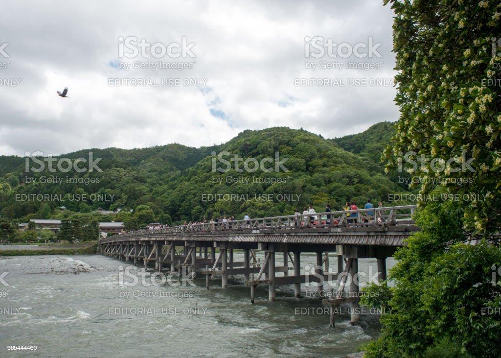 The Moon Crossing Bridge in Arashiyama, Kyoto, Japan zbiór zdjęć royalty-free