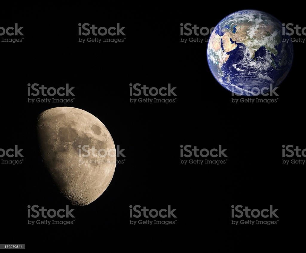 The moon in relation to the earth stock photo