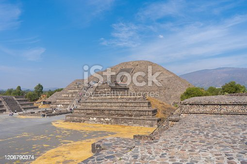 The moon pyramid in Teotihuacan. View with sky. Travel photo, background, wallpaper. Mexico.