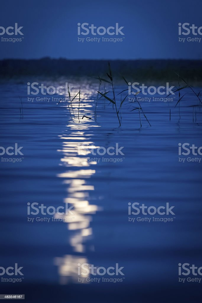 the moon reflected in the lake stock photo