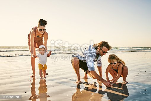 Shot of a happy young family enjoying a day at the beach