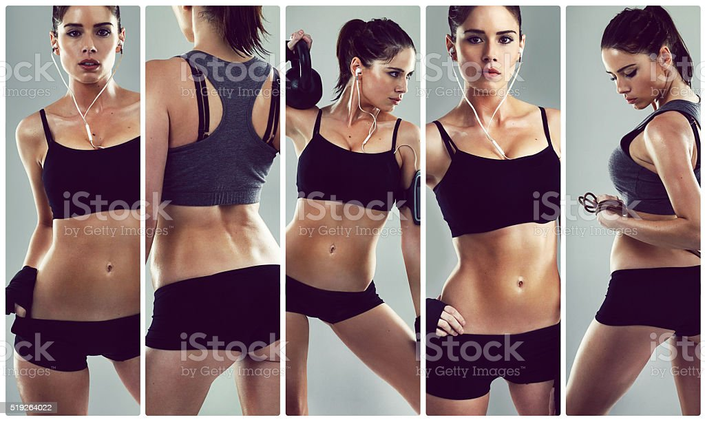 The more you work out, the weaker his knees get stock photo