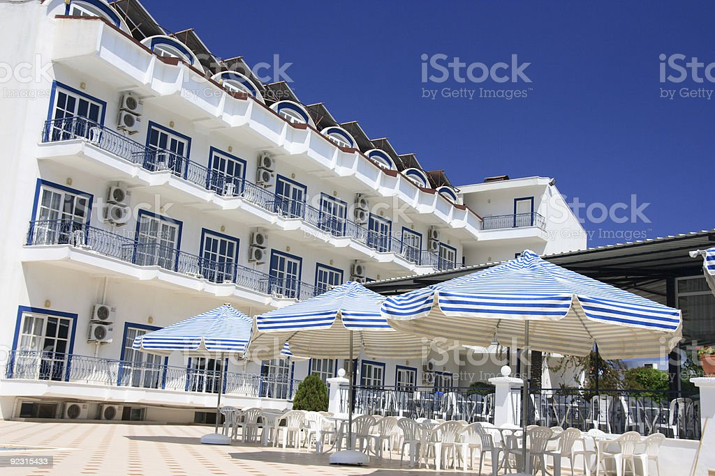 The morning in beautiful hotel, Greece. stock photo