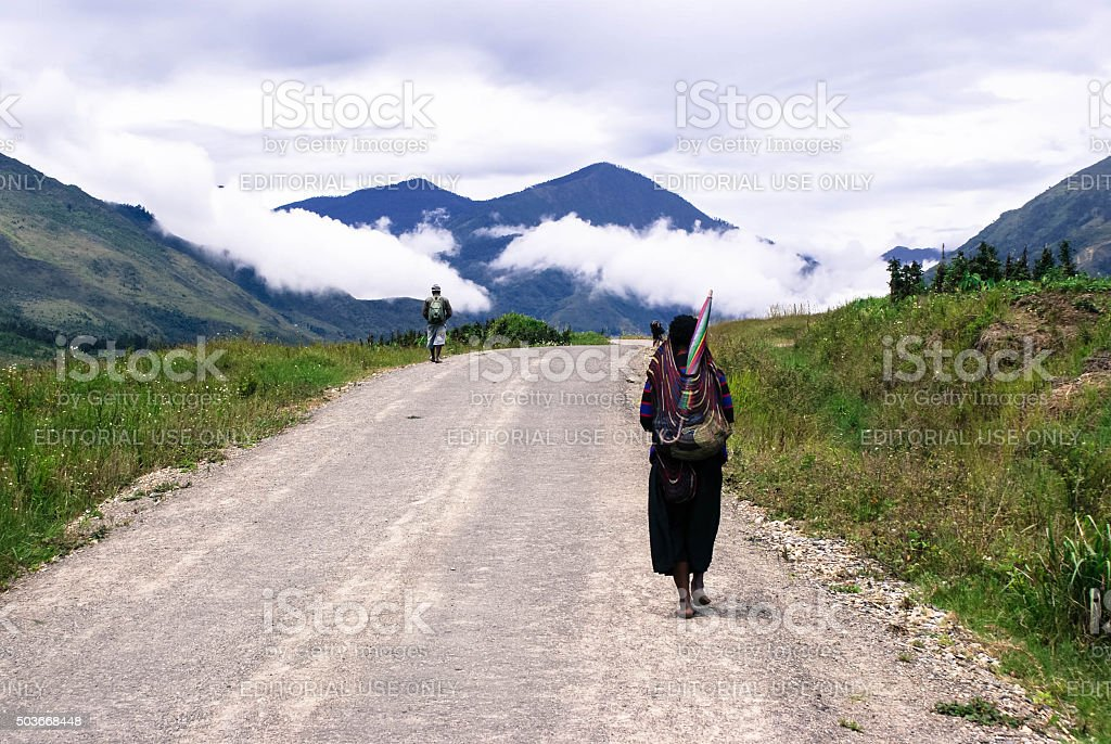 The morning landscape around Wamena, Papua province of Indonesia stock photo