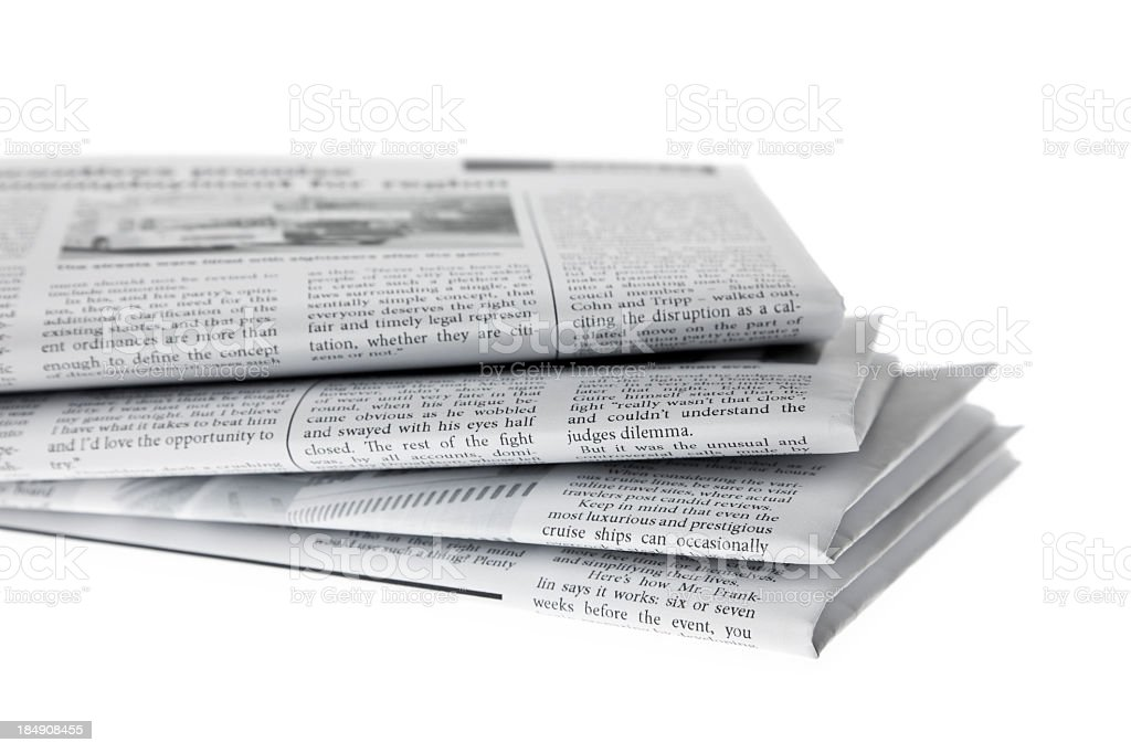 The morning newspaper on white stock photo