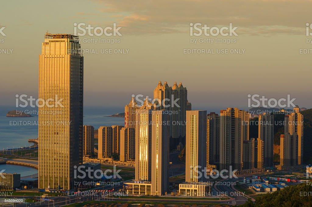 The morning of High-Tech Park of Dalian stock photo