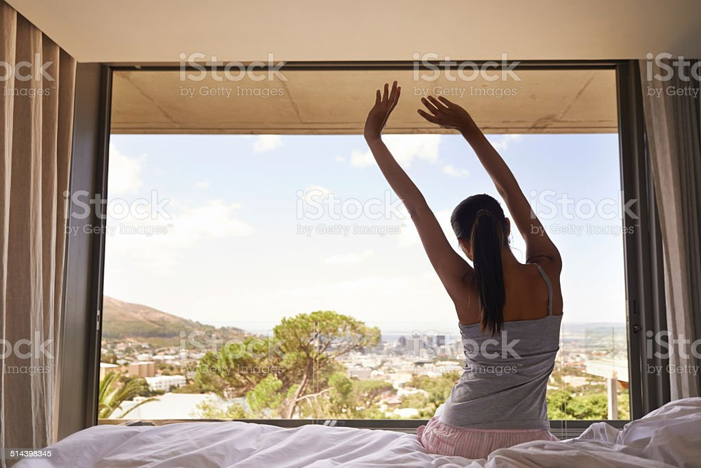 The morning stretch stock photo