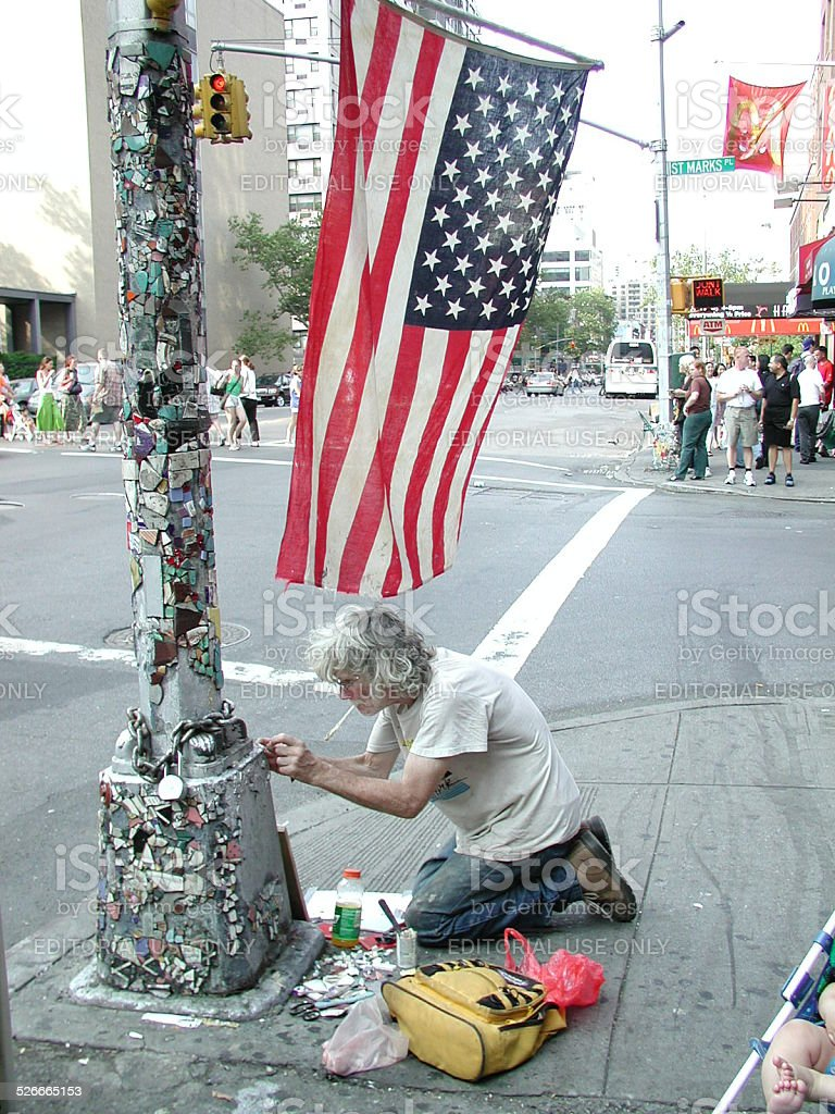 The Mosaic Man Jim Power at work. East Village NYC stock photo