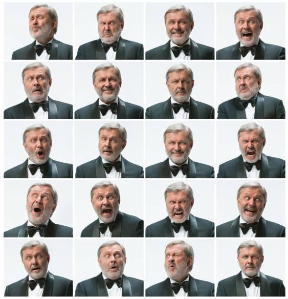 das mosaik der geschäftsmann mit dem ausdruck ihrer und verschiedene emotionen. der bärtige geschäftsmann mit anzug mit 20 verschiedenen emotionen - alte serien stock-fotos und bilder