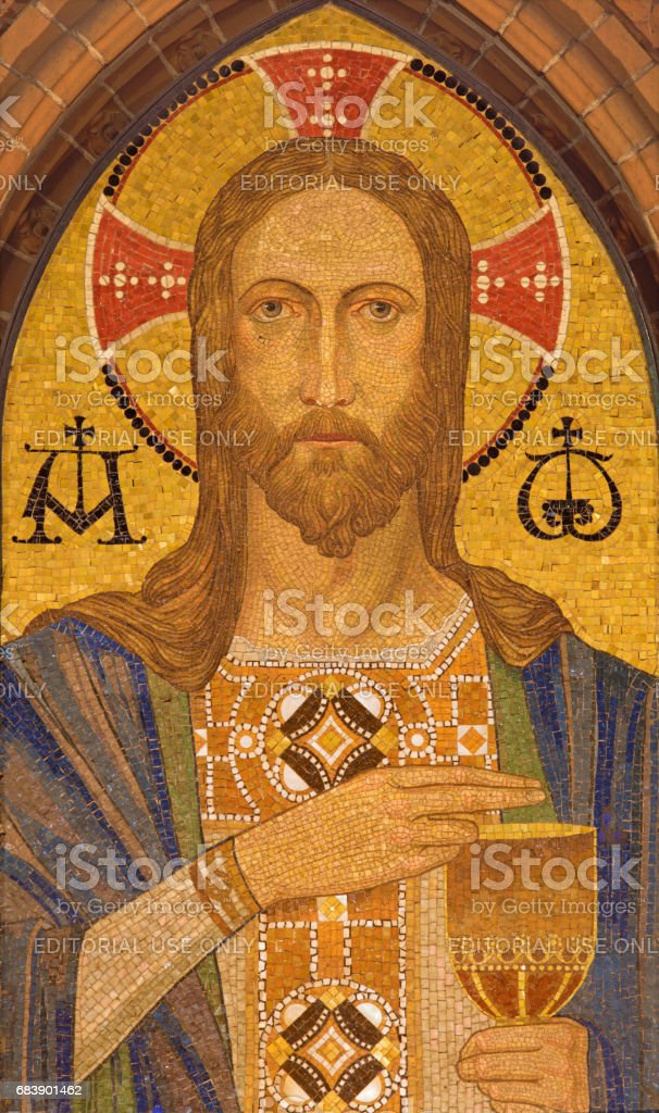 The mosaic of Jesus Christ in St. Pauls evengelical church by unknown artist of 20. cent. stock photo