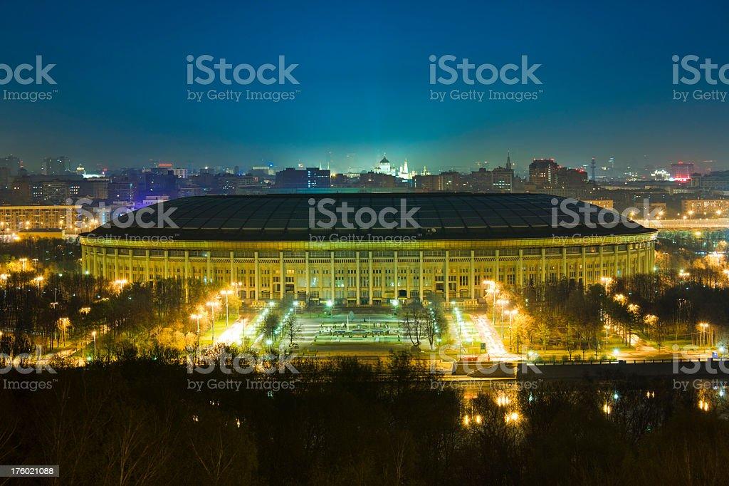 The Moscow Luzhniki Stadium at night royalty-free stock photo