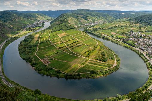 The Mosel loop in Bremm, Germany