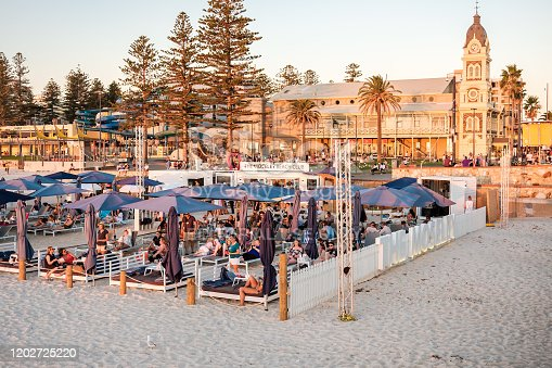 Adelaide, South Australia - March 9, 2018: People at The Moseley Beach Club cafe in Glenelg enjoying sunset views on a hot summer evening