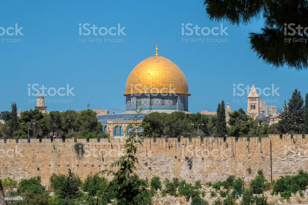 The Mosque Dome of the Rock on the top of the Temple Mount from the Mount of Olives (Israel, Jerusalem) stock photo