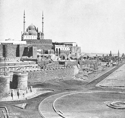 The Great Mosque of Muhammad Ali Pasha at Saladin Citadel of Cairo in Cairo, Egypt. Vintage halftone photo etching circa late 19th century.
