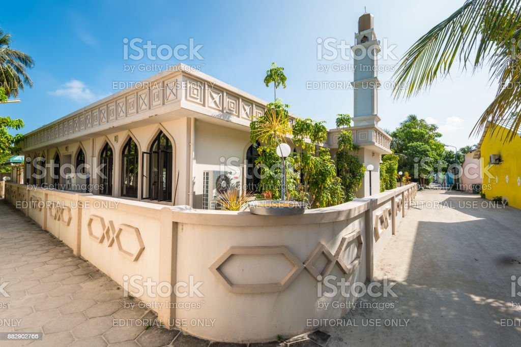 The mosque on the island of Huraa in the Maldives stock photo